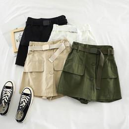 52c6951aa9 2019 nueva moda para mujer ropa de adultos cintura elástica de color sólido  con cinturón de una hilera casual salvaje simple recto shorts H738