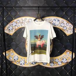 Argentina Primavera Verano 2019 Europa Italia Murciélago Pig Pig Bee Pintura al óleo de la camiseta Camiseta de alta calidad Moda Hombres Mujeres Algodón Casual Tee Top Suministro