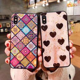 capas de telefone celular designer de moda Desconto Xs max xr 678 plus moda casos de telefone celular designer de luxo telefone case diamante coração proteger cobrir