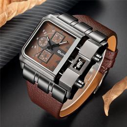 2019 große zifferblatt uhren OULM Marke Original einzigartiges Design Platz Männer Armbanduhr breites großes Zifferblatt Casual Lederband Quarzuhr männliche Sportuhren