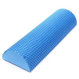 Rullo pilota di schiuma online-Vendita calda Blocchi Yoga blu EVA Foam Yoga Roller Pilates Fitness Rotolo di schiuma a mezzo giro con massaggio Floating Point