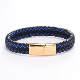 застежки для кожаных ремешков Скидка Плетеный кожаный браслет черный из нержавеющей стали магнитный браслет застежки мужские браслеты подарки браслет ручной работы