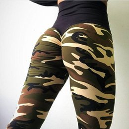 Pantalones de camuflaje de yoga online-Las mujeres ropa de camuflaje pantalones de cintura alta deportes atléticos Yoga Pantalones Lápiz