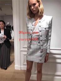Damen casual satin kleider online-Sommerkleider Zweiteiler Sommer Frauen Blazer Tops + Miniröcke Marke Frauen Kleidung Casual Damen Kleidung Zweiteiler Sets Rock