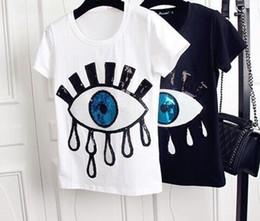Bordado para meninas on-line-Big Eyes Womens Designer Tshirts Moda Applique Bordado Tops Camisas de Manga Curta Bonito Casual Meninas Undershirt
