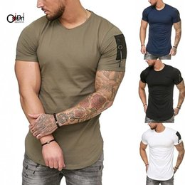 мужские черные карманные футболки Скидка Osunlin Khaki T-shirt Short Sleeves White Blue Black T Shirt Undershirt Male Solid Mens Tee Zippered Decorative Pocket O Neck