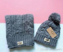 Zwillingsschals online-2019 heiße Modemarke Männer und Frauen Winter hohe Qualität warmer Schal Hutklage voll Hut stricken wärmen 666