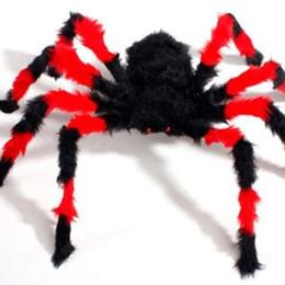 juguete de caza Rebajas Accesorios de Halloween Spider Plush Black Spider Haunted House Party Supplies Decoraciones 90 CM Simulación Arañas Juguetes