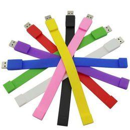 Bandes flash usb en Ligne-2019 vente chaude bracelet en silicone Bracelet 64 Go 128 Go 16 Go 32 Go 256 Go USB Flash Drive Pen Drive Stick U disque Pendrives cadeau