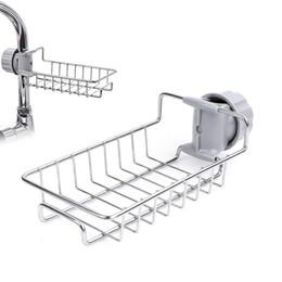 Cesto in acciaio inox per il bagno online-Regolabile rubinetto di stoccaggio Rack in acciaio inox Cucina spugna Holder Mensola per straccio di sapone e spugna organizzatore cesti appesi