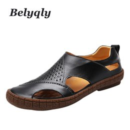 casual comfy shoes Promo Codes - Belyqly 2018 New Men's Casual Hight Quality Printed Leather Sandals Breath Comfy Hole Soild Summer Slip On Light Scuffs Shoes