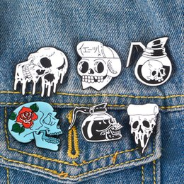 black water hat Coupons - Punk Skeleton Pins Skull Brooches Dark Lapel Pins Backpack Bag Hat Leather Jackets Fashion Accessory Halloween Gift for Men Unisex