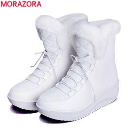 tornozelo, botas, pele, interior Desconto Atacado-MORAZORA 2017 nova Rússia botas de neve de inverno de pele grossa dentro sapatos de plataforma mulher cunhas calcanhar mulheres ankle boots sapatos femininos