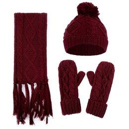 356eceac6a830e wollmütze schal setzt Rabatt Winter warme Mütze Schal und Handschuhe  gestrickt künstliche Woolen winddicht Casual Set