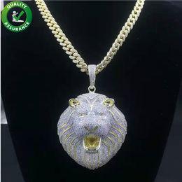 2019 lion link Hip Hop Bling Ketten Schmuck Männer Iced Out Anhänger Luxuxentwerfer Halskette Mens Goldkette Anhänger Diamant Cuban Link Rapper Mode Lion günstig lion link