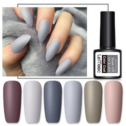 Verniciatura a cappotto online-LEMOOC 8ml Matte Top Coat Gel UV di colore Nail Polish Grigio Serie semi permanente Soak Off Gel UV per unghie fai da te Nail Art della vernice