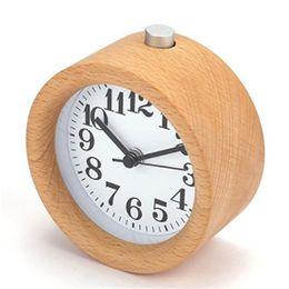 handgefertigte lampen Rabatt Handgemachte klassische kleine runde Uhr Holz stille Schreibtisch Wecker mit Schreibtischlampe für Hauptdekoration