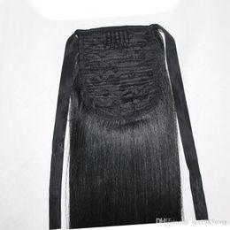 2019 rabo de cavalo preto ombre cabelo Cabelo humano brasileiro Rabos De Cavalo 16 18 20 22 polegadas 100g Em Linha Reta Indiano Extensões de Cabelo Clipe Muitas Cores