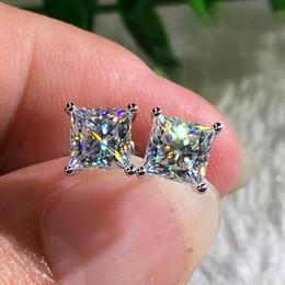 Deutschland Art und Weise 18K weißes Gold Princess Cut Zircon-weißer Diamant-Bolzen-Ohrringe Versorgung