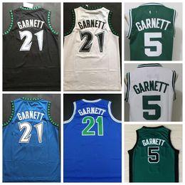 2019 maglie lebron a buon mercato Maglie Kevin Garnett da uomo # 21 Kevin Garnett nero blu bianco 34 # Paul Pierce Jersey 5 # Kevin Garnett 20 # Ray Allen Camicia cucita