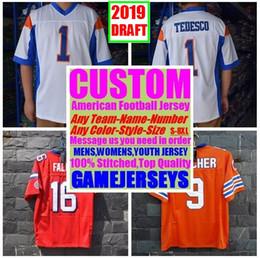 remiendos al por mayor de la camisa del niño Rebajas Universidad personalizada camisetas de fútbol americano para hombre mujeres jóvenes niños 2019 Proyecto cosido auténtico jersey 4xl 5xl 6xl 7xl 8xl Ropa deportiva