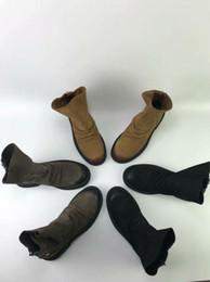 Trabajo de cuero de estilo europeo online-Moda para mujer Estera impermeable Botas de cuero estilo retro punky botas de trabajo Diseñadores europeos Botines Botines