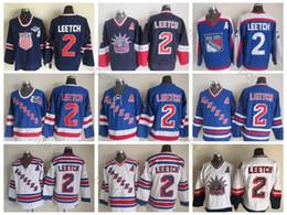 трикотажная фабрика Скидка 1998 года выпуска Liberty Vintage # 2 Brian Leetch Jerseys 2004 США 75-е место # 2 New York Rangers Хоккейная майка Brian Leetch высшего качества сшитые патч