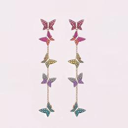 Charme Broderie Papillon Cristal Long Tassel Drop Dangle Boucle d/'oreille Bijoux Cadeaux