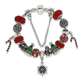 braceletes do projeto elegante Desconto Marca Red Beads Encantos Pulseiras Elegante Europeu Pandorx Design Papai Noel Árvore De Natal Flocos De Neve Pulseira para o Presente Da Jóia Do Natal DHL