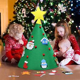 Niños adornos de juguete de navidad online-DIY 3D del árbol del fieltro de Navidad con colgar adornos de Navidad regalos de Navidad de los niños decoraciones caseras rompecabezas educativos Juguetes JK1910