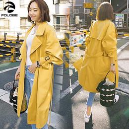 gelber frühjahrsgrabenmantel Rabatt FOLOBE eleganter Trenchcoat 2019 Frühlings-Herbst-Trench-Frauen-Kleidung Langer Mantel Street weibliche dünne Yellow Fashion
