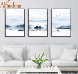 2019 pinturas da selva ALMUDENA Nordic Mountain e Lago Pintura de paisagem No Frame Pôsteres Tela and Prints imagem para Sala Decoração