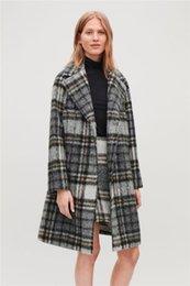casaco de lã e lã Desconto 2019 mulheres slim britânica trespassado simples elegante retro xadrez alpaca fleece casaco de lã feminino casacos outerwear cobre