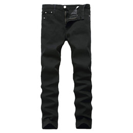 pants china Promo Codes - New Arrival Jeans For Men Cheap Jeans China Straigh Regular Fit Denim Pants Classic Elastic Black Colour