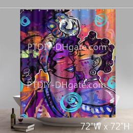 2019 esteiras de banho estilo cartoon Personalizado Engraçado Africano Americano Preto Mulheres Graffiti Padrão Justin Copeland Banho Cortinas De Chuveiro