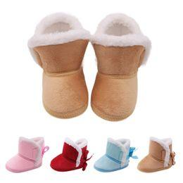 meias de borracha de borracha atacado Desconto Muito quente bebê recém-nascido meninas princesa botas de inverno primeiro caminhantes Anti-slip bebê menino menina calçado sapatos