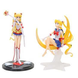 sailor moon anime figures Promo Codes - anime Super Sailor Moon figure toys Tsukino Usagi PVC Action Figure Wings Cake Decoration Collection Model Toy Doll Gifts anime Super Sailor