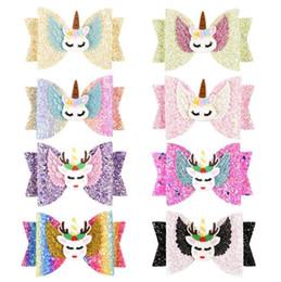 2019 all'ingrosso fasce 4 luglio Barrettes Unicorn Forcelle Glitter Bow Clip Arco Arcobaleno Hairbow Bambini Lucenti Hairgrips Bambini Dolce Copricapo 8 Colori Spedizione Gratuita