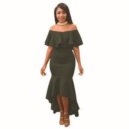 Vestido de mujer 2019 Nuevos vestidos con volantes simples Moda con un hombro Sexy falda larga Multicolor Opcional para el verano Tamaño S-XL desde fabricantes