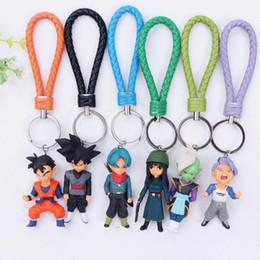 Bola de dragão z vegeta on-line-6 pçs / lote Dragon Ball Z anel chave brinquedo PVC Kuririn Vegeta Goku SON Gohan Piccolo Freeza Beerus modelo Figuras de Ação Keychain crianças brinquedos