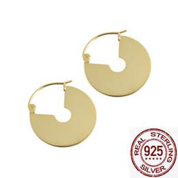 серьги Скидка 2019 мода геометрический металлический диск вентилятор 925 серебряные серьги для женщин без аллергии