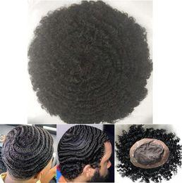 toupee da parte dianteira do laço Desconto Afro Onda 360 Ondas Mono com substituição peruca completa Lace peruca Men Hairpieces indiano virgem do cabelo humano da peruca Men NPU por Homens Preto