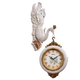 Relógio vintage on-line-Peafowl Vintage Relógio de Parede Dupla Face Adivinhar Mulheres Assistir Mecanismo Relógios Pow Silencioso Retro Decorações de Casamento Relógios