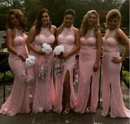 2019 robes de demoiselle d'honneur de sirène rose élégante licou cou pleine dentelle paillettes demoiselle d'honneur robes de soirée fente de mariage robes de soirée ? partir de fabricateur