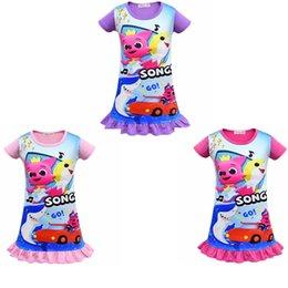 Tierdruck baby mädchen kleider online-Babykleider Mädchen Kurzarm Schlafkleid Cartoon Oansatz Animal Print Rock Sommer Kinder Kleidung Strandkleider GGA1836