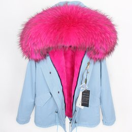 Parka mujeres suecia online-Oversize Rosered Raccoon Fur collar & soft velvet furs Liner Detachable women's mini Kvinnor ner parka Sweden Netherlands @cheapsneakers