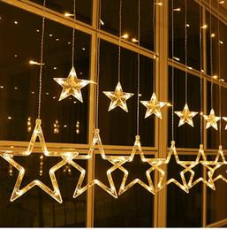 estrella cortina luz ventana decoracion Rebajas Estrellas Cortina Luces de la secuencia Luces de la cortina de la ventana con 8 modos que destellan Decoración para el banquete de boda de la Navidad Patio del hogar Patio