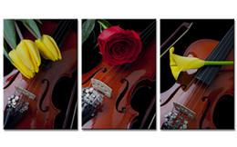 rosas de arte de parede Desconto Não Emoldurado 3 Peças Modern Violin Tulip e Rose Lily Flores Pintura Decorativa Home Bedroom Decor Obras de Arte Da Parede Da Lona para o Presente