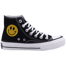 2019 пары резиновые туфли Round Toe Smile Women Casual Sneakers Unisex Flat Canvas Shoes for Couple Rubber Street Casual Shoes скидка пары резиновые туфли