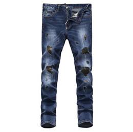 Uomini di jeans del club online-hot 2019 Uomo strappato jeans strappati jeans Night club blu cotone moda Stretto primavera autunno pantaloni da uomo A830 PHILIPP PLEIN PHILIPP PLEIN DSQ2 D2
